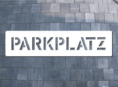 Bodenlogoschablone zum Sprühen  Parkplatz