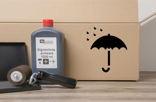Vor Nässe schützen - Verpackungsschablone