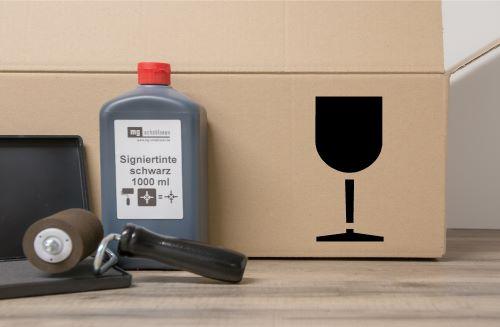 Vorsicht Glas, Zerbrechlich Verpackungspiktogramm Schablone